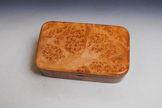 Wooden Box of Mahogany with Maple Burl - Handmade in the USA  by BurlWoodBox - Small Jewelry Box - Treasure Box - Unique Gift