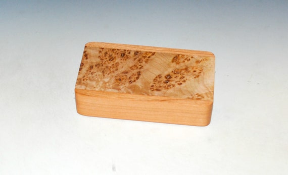 Slide Top Small Wooden Box of Cherry With Maple Burl - USA Made by BurlWoodBox With a Food Safe Finish