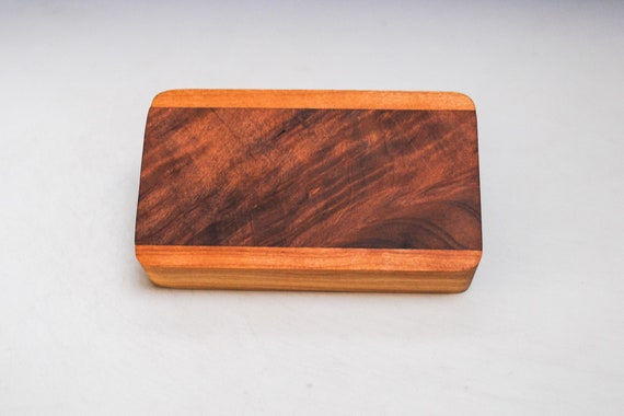 Slide Top Small Wood Box of Cherry With Figured Redwood - USA Made by BurlWoodBox With a Food Safe Finish