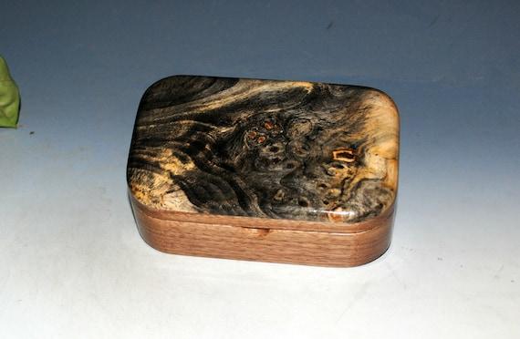 Handmade Wooden Trinket Box of Buckeye Burl on Walnut by BurlWoodBox - Handmade in the USA