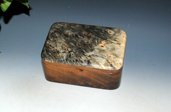 Handmade Wooden Box with Tray in Walnut and Buckeye Burl - Small Desk Box - Stash Box - Handmade Box - Wood Box - Gift Box - Keepsake Box