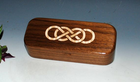Wooden Box of Walnut With Double Infinity Curly Maple Inlay - Pen Box or Gift Box  Handmade by BurlWoodBox in The USA