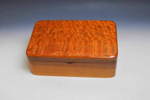 Wood Stash Box, Wood Jewelry Box, Wood Treasure or Desk Box - Lacewood on Walnut - Handmade Wood Box By BurlWoodBox- Wooden Box, Gift Box