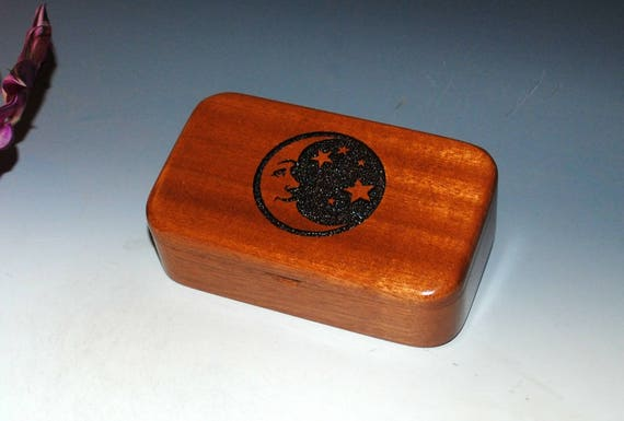 Moon & Stars Engraved Wooden Treasure Box of Mahogany - Handmade by BurlWoodBox  - Celestial Gift