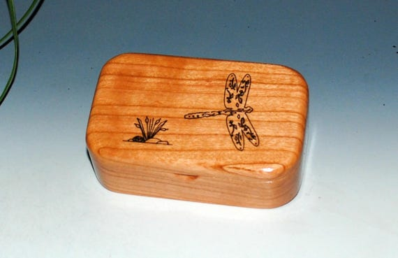 Wooden Box With a Dragonfly of Cherry - Handmade in The USA by BurlWoodBox - Trinket or Jewelry Box