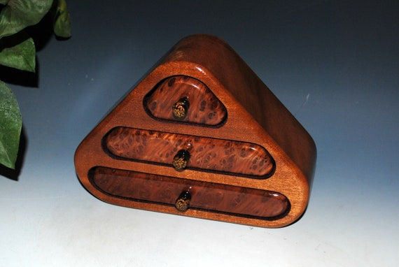 Small Wooden Jewelry Box of Mahogany And Redwood Burl With Three Drawers - Handmade Gift!