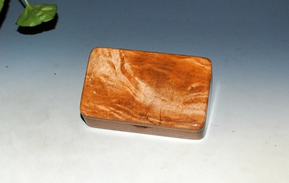 Small Wood Box of Walnut With Maple Burl by BurlWoodBox - Perfect As a Gift Or to Hold a Small Special Present