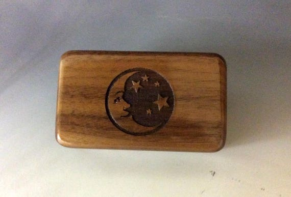Small Wooden Box With Moon & Stars of Walnut - Handmade Wood Box By BurlWoodBox With Hinged Lid - Gift or USB Holder - Celestial Box