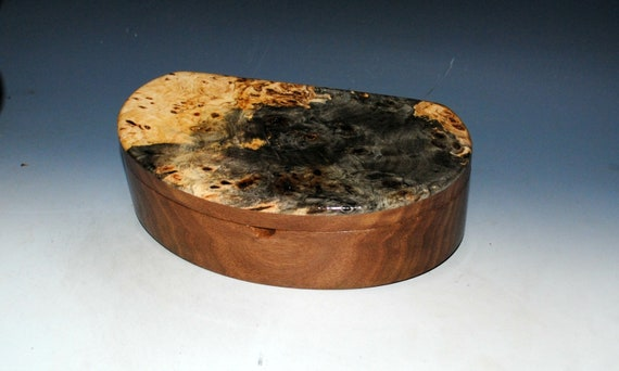 Wooden Box With Tray of Buckeye Burl & Walnut - Handmade Kidney Shaped Box by BurlWoodBox