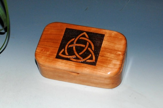 Wooden Trinket Box WithTriquetra Engraving on Cherry -  Handmade Box With Hinged Lid by BurlWoodBox - Trinity Knot or Celtic Triangle
