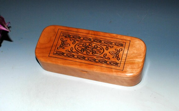 Wooden Pen Box or Pencil Box of Cherry with a Laser Engraved Celtic Knot by BurlWoodBox - Great For Gift Presentation or as a Jewelry Box