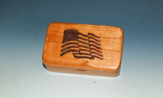 Small Wooden Box With an Engraved United States Flag on Cherry - Handmade Tiny Wood Box with American Flag by BurlWoodBox