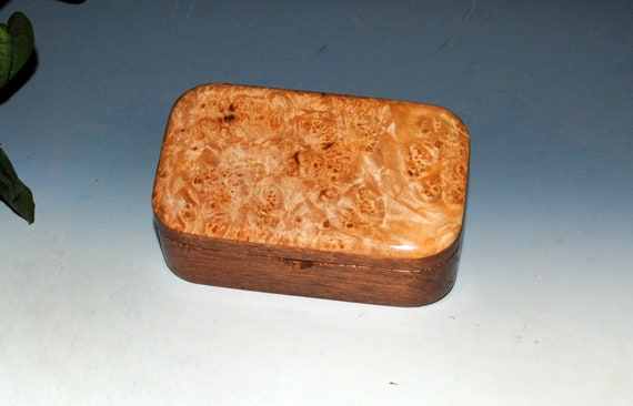 Small Wooden Box - Handmade Wood Box of Maple Burl on Mahogany - Perfect For Small Keepsakes or Jewelry