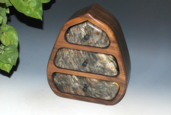 Wooden Jewelry Box of Buckeye Burl and Walnut In Our Pod Style - Handmade Jewelry Box With Drawers by BurlWoodBox