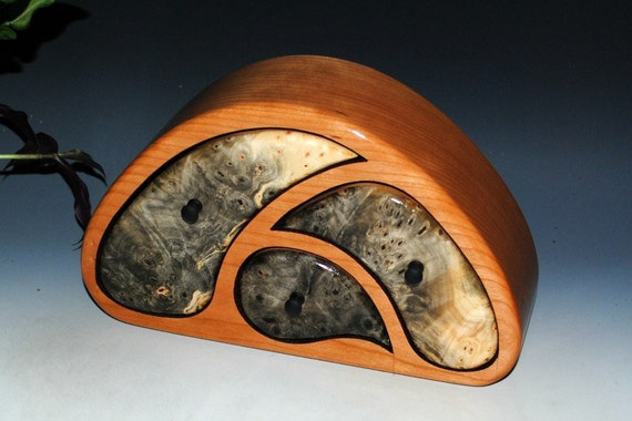 TriOval Style Wooden Jewelry Box of Buckeye Burl on Cherry - Art Box With Function Handmade by BurlWoodBox in the USA - A Unqiue Gift !