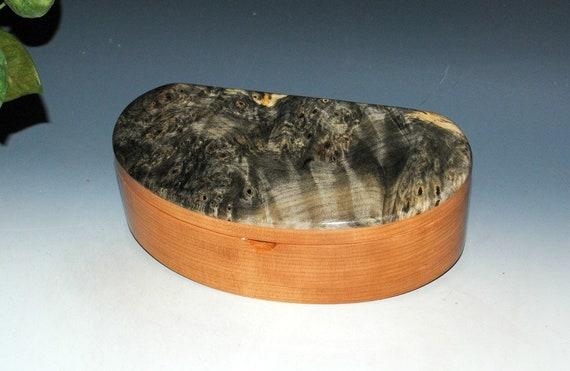 Handmade Kidney Shaped Wooden Box, Wood Jewely Box, Desk or Treasure Box - Buckeye Burl on Cherry-Handmade Box by BurlWoodBox-Small Wood Box