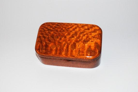 Wooden Trinket Box of Lacewood on Mahogany - Small Wood Jewelry or Treasure Box Handmade by BurlWoodBox
