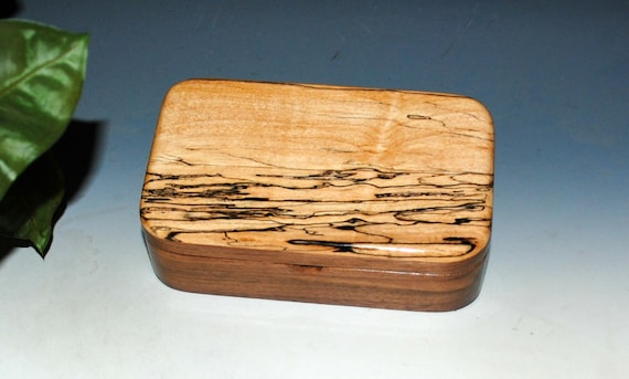 Wooden Treasure Box of Walnut & Spalted Maple - Handmade Wood Box With Hinged Lid
