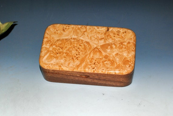 Handmade Wood Treasure Box of Mahogany with Maple Burl  by BurlWoodBox - Wooden Box for Jewelry, Treasures or Keepsakes - Great Gift !