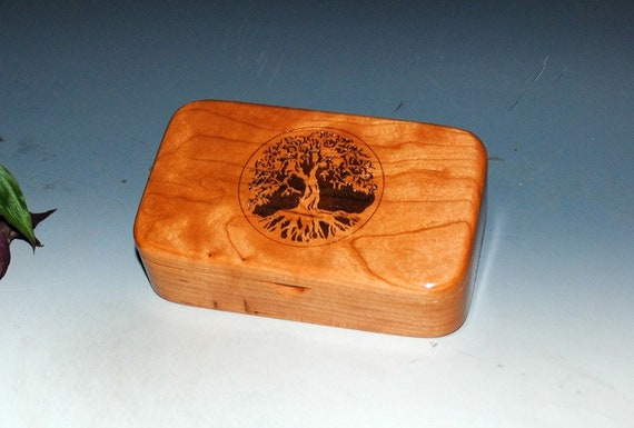 Tree of Life Box -Wooden Box- Wood Box- Engraved Cherry Treasure Box - Stash Box - Small Wooden Box - Jewelry Box, Keepsake Box, Sacred Tree