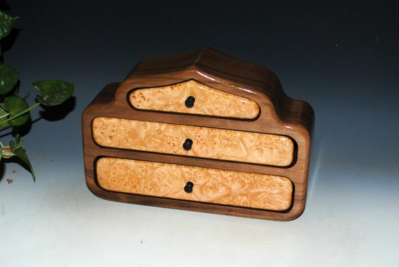 Wooden Jewelry Box of Maple Burl on Walnut in Our Pagoda Style - Handmade Jewelry Box With Drawers