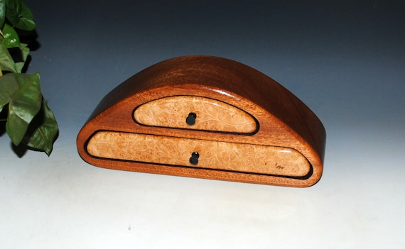 Handmade Wooden Jewelry Box of Maple Burl on Mahogany- Two Drawer Wood Jewelry Box by BurlWoodBox