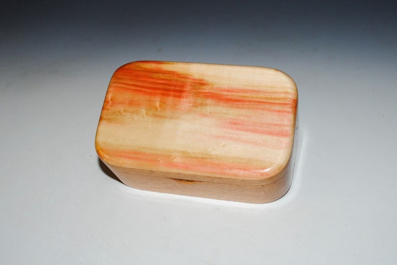 Wooden Trinket Box With Hinged Lid of Spalted Box Elder on Mahogany USA Made Small Wood Jewelry Box - Handmade Gift