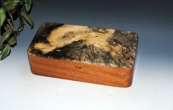 Wood Box - Buckeye Burl on Mahogany with Sliding Tray - Wood Jewelry Box, Stash Box, Keepsake Box, Wooden Jewelry Box, Handmade Wooden Box