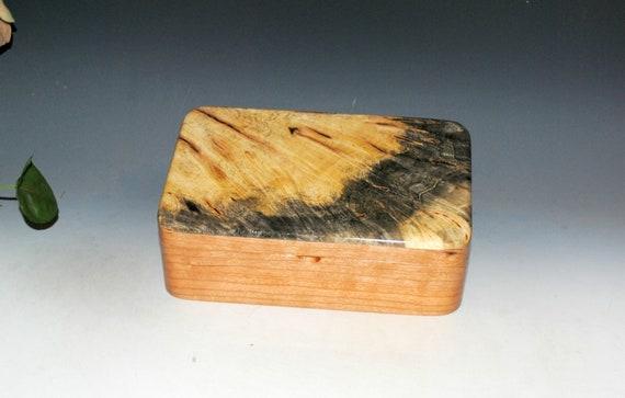 Wood Stash Box in Cherry & Buckeye Burl Handmade by BurlWoodBox - Quality Handmade Wood Gift