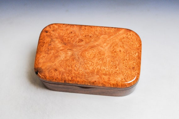 Wooden Trinket Box of Maple Burl on Mahogany - Handmade in the USA by BurlWoodBox