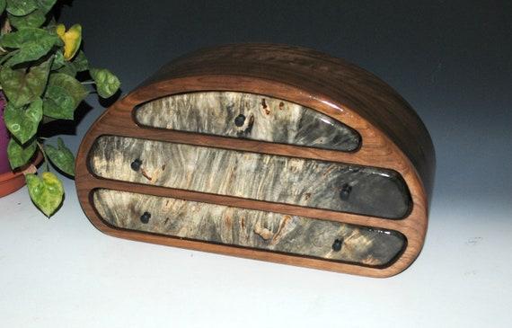 Wooden Jewelry Box of Walnut and Buckeye Burl in Our Nadia Style by BurlWoodBox - Large Handmade Wood Jewelry Box - Jewelry Storage