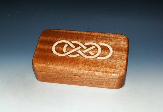 Wood Box of Mahogany With Inlaid Maple Double Infinity Symbol - Stash or Jewelry Box - USA Made by BurlWoodBox