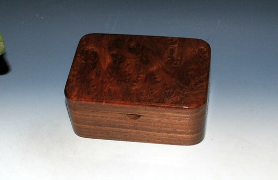 Redwood  Burl on Walnut Wooden Box With a Tray - Handmade Wood Box With Lid by BurlWoodBox - Great For Jewelry, Treasures or on Your Desk