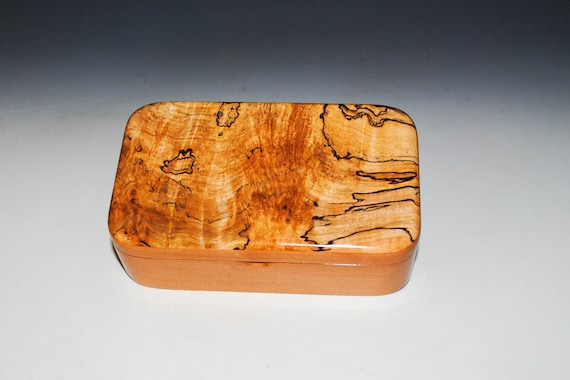 Wooden Treasure Box of Cherry & Spalted Maple - Handmade Wood Box With Hinged Lid by BurlWoodBox