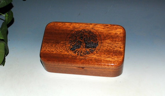 Tree of Life Engraved Wooden Treasure Box of Mahogany - Handmade in the USA by BurlWoodBox