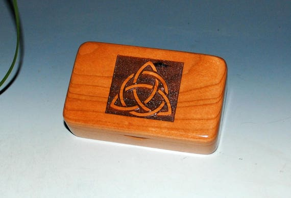Small Wooden Box  With Engraved Triquetra on Cherry - Handmade Wood Box by BurlWoodBox  Perfect as a Gift or to Hold That Special Small Gift