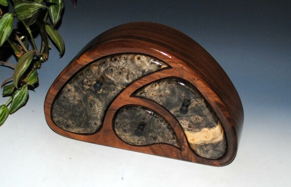 Handmade Wood Jewelry Box -TriOval Style Buckeye Burl on Walnut - Wooden Jewelry Box, Burl Jewelry Box, Small Jewelry Box, Art Jewelry Box