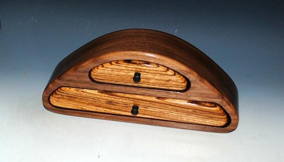 Wooden Jewelry Box of Zebrawood on Walnut with Two Drawers - Handmade Wood Jewelry Box by BurlWoodBox - USA Made Gift !