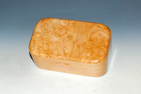 Wooden Trinket Box of Maple Burl on Cherry -  Handmade Wood Box With Lid by BurlWoodBox