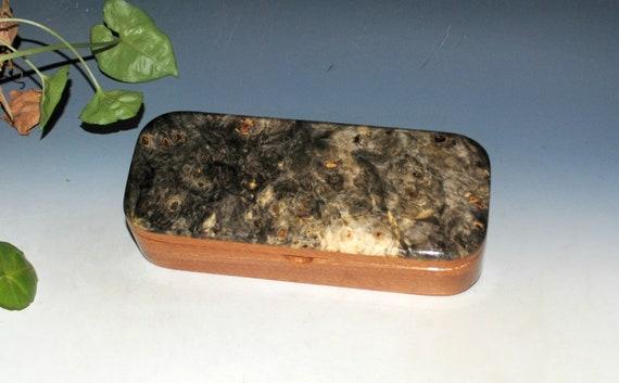 Wooden Pen Box of Buckeye Burl on Mahogany - Handmade in the USA by BurlWoodBox