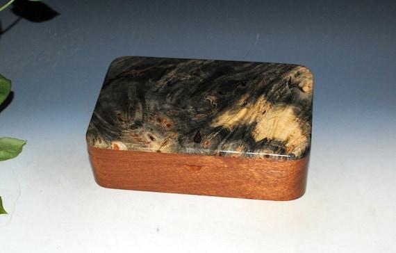 Wooden Box in Mahogany with Buckeye Burl by BurlWoodBox - Handmade Wood Stash Box With Lid - Gift !