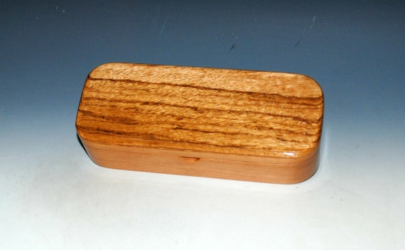 SALE - Wooden Pen, Desk or Gift Box of Zebrawood on Cherry by BurlWoodBox - Wood Storage Box - SALE - sapwood on zebrawood