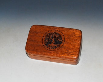 Tree of Life Small Wooden Box of Mahogany - Handmade Engraved Tiny Wood Box