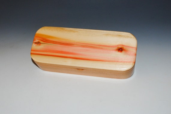 Wooden Pen or Gift Presentation Box of Spalted Box Elder on Cherry - Handmade Wood Box With Hinged Lid by BurlWoodBox - USA Made Small Box