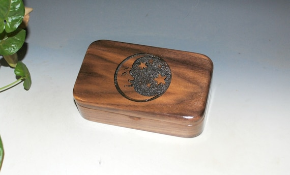 Moon & Stars Laser Engraved Walnut Wood Treasure Box, Gift Box, Trinket Box, Stash Box- Small Wooden Box by BurlWoodBox- Handmade Small Box