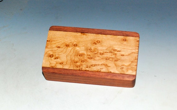 Slide Top Small Wood Box of Bubinga With Bird's Eye Maple - USA Made by BurlWoodBox With a Food Safe Finish