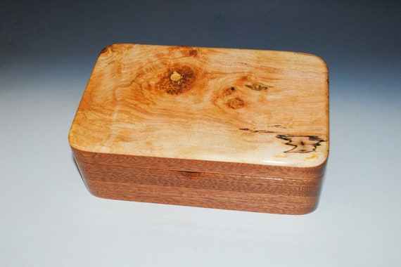 Handmade Mahogany Wood Stash Box accented with Spalted Elm - Great Gift For Any Guy !