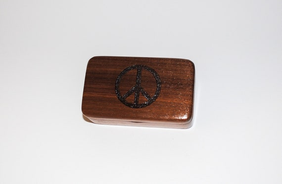 Small Wooden Box With Peace Sign Engraved on Walnut - Hinged Lid Handmade Tiny Wood Box - Small Gift Box