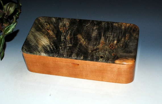 Handmade Lidded Hinged Wooden Box With Tray in Buckeye Burl on Cherry by BurlWoodBox - very popular as a unique gift for either him or her