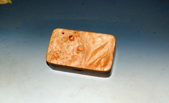 Tiny Wood Box of Walnut With Maple Burl - Small Wooden Box Handmade by BurlWoodBox in the USA